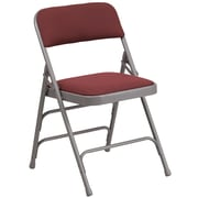 Flash Furniture  Hercules Curved Triple-Braced, Double-Hinged Metal Folding Chair, Burgundy Patterned Fabric (AWMC309AFBG)