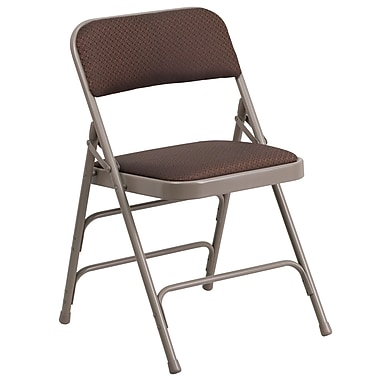 Flash Furniture Hercules Curved Triple-Braced Double-Hinged Metal Folding Chair, Brown-Pattern Fabric Upholstery (AWMC309AFBRN)
