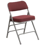 Flash Furniture  Hercules Curved Triple-Braced, Double-Hinged Fabric-Upholstered Metal Folding Chair, Burgundy (AWMC320AFBG)