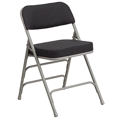 Flash Furniture Hercules Curved Triple Braced Double Hinged Pin-Dot Upholstered Metal Folding Chair, Black, (AWMC320AFBK)