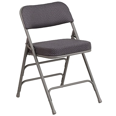 Flash Furniture Hercules Premium Curved Triple-Braced, Quad-Hinged Fabric-Upholstered Metal Folding Chair, Gray (AWMC320AFGRY)