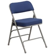 Flash Furniture Hercules Premium Curved Triple Braced Double Hinged Metal Folding Chair, Navy Fabric, (AWMC320AFNVY)