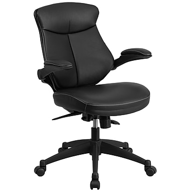 Flash Furniture Leather Mid-Back Executive Swivel Office Chair with Back Angle Adjustment and Flip-Up Arms, Black (BLZP804)