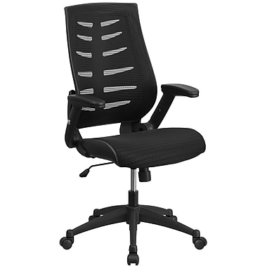 Flash Furniture Designer Mesh High Back Executive Swivel Office Chair with Height Adjustable Flip-Up Arms, Black (BLZP809BK)