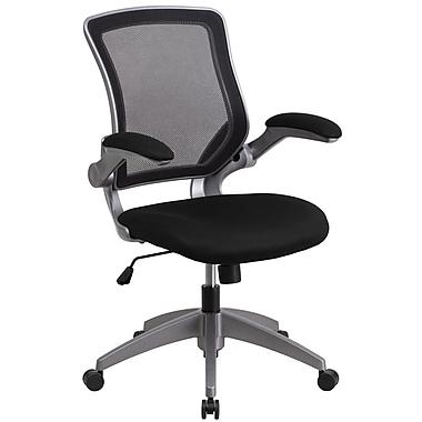 Chaise de travail pivotante à dossier mi-hauteur noir en filet, structure grise, accoudoirs rabattables (BLZP8805BK)