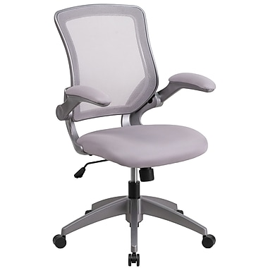 Chaise de travail pivotante à dossier mi-hauteur gris en filet, structure grise, accoudoirs rabattables (BLZP8805GY)