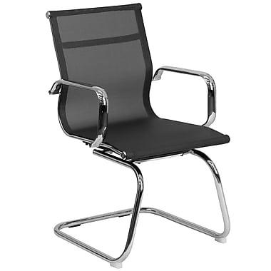 Flash Furniture – Chaise d'appoint noire en filet avec pattes chromées style traîneau (BT2768L)