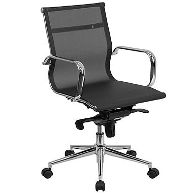 Flash Furniture – Fauteuil de direction pivotant à dossier moyen, synchronisation siège/dossier, filet noir (BT2768M)