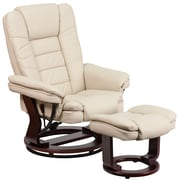 Flash Furniture Contemporary Leather Recliner and Ottoman, Beige with Swiveling Mahogany Wood Base (BT7818BGE)