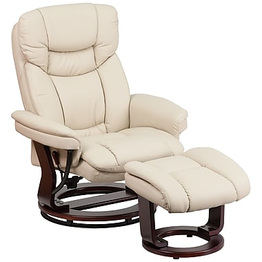 Flash Furniture Contemporary Leather Recliner and Ottoman, Beige with Swiveling Mahogany Wood Base (BT7821BGE)