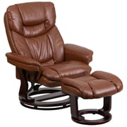 Flash Furniture Contemporary Brown Vintage Leather Recliner and Ottoman with Swiveling Mahogany Wood Base (BT7821VIN)