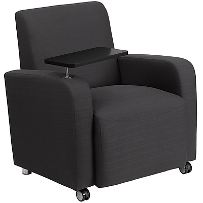 Flash Furniture Fabric Guest Chair, Gray with Tablet Arm and Front Wheel Casters (BT8217GYCS)
