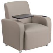 Flash Furniture Leather Guest Chair, Gray with Tablet Arm, Chrome Legs and Cup Holder (BT8217TN)