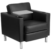 Flash Furniture Leather Guest Chair, Black with Tablet Arm, Tall Chrome Legs and Cup Holder (BT8219BK)