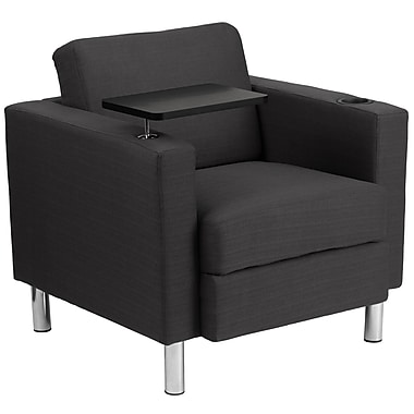 Flash Furniture Fabric Guest Chair in Charcoal Gray with Tablet Arm, Tall Chrome Legs and Cup Holder (BT8219GY)