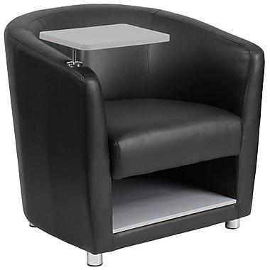 Flash Furniture – Siège visiteur en cuir noir à accoudoir-tablette, pattes et compartiment chromés (BT8220BK)