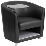 Flash Furniture Leather Guest Chair with Tablet Arm, Chrome Legs and Under Seat Storage, Black (BT8220BK)