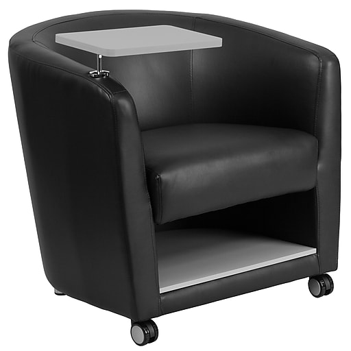 Flash Furniture Leather Guest Chair w/Tablet Arm, Front Wheel Casters and Under-Seat Storage, Black