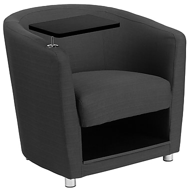 Flash Furniture Fabric Guest Chair, Charcoal Gray with Tablet Arm, Chrome Legs and Under-Seat Storage (BT8220GY)