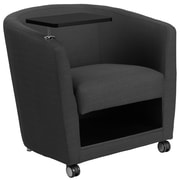 Flash Furniture Charcoal Gray Fabric Guest Chair with Tablet Arm and Under Seat Storage (BT-8220-GY-CS-GG)