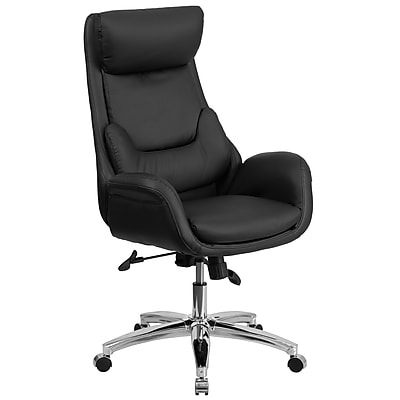 Flash Furniture Pillow-Soft Leather Executive Office Chair, Adjustable Arms, Black (BT90027OH)
