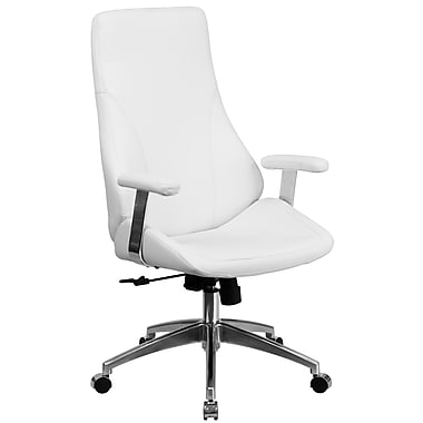 Flash Furniture – Fauteuil de direction pivotant à dossier haut en cuir blanc (BT90068HWH)