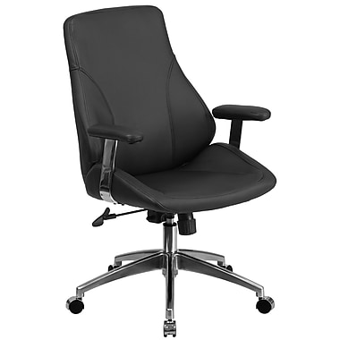 Flash Furniture BT90068M Mid-Back Leather Executive Swivel Office Chair, Black