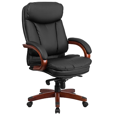 Flash Furniture Leather High-Back Executive Swivel Office Chair with Synchro-Tilt Mechanism, Black with Mahogany Wood Base