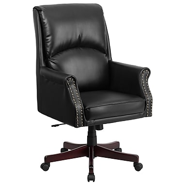 Flash Furniture High-Back Pillow-Back Leather Executive Swivel Office Chair, Black (BT9025H2)