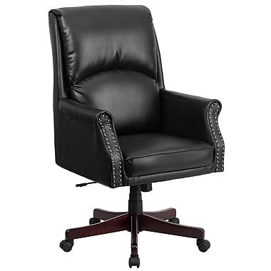 Flash Furniture – Fauteuil direction pivotant à dossier haut et à soutien lombaire, cuir noir (BT9025H2)
