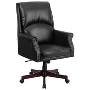 Flash Furniture Pillow-Soft Leather Executive Office Chair, Fixed Arms, Black (BT9025H2)