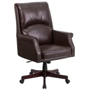 Flash Furniture Pillow-Soft Leather Executive Office Chair, Fixed Arms, Brown (BT9025H2BN)