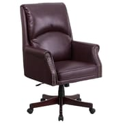 Flash Furniture Pillow-Soft Leather Executive Office Chair, Fixed Arms, Burgundy (BT9025H2BY)