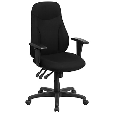Flash Furniture High-Back Fabric Multi-Functional Ergonomic Swivel Task Chair, Black with Height-Adjustable Arms (BT90297HA)