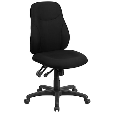 Flash Furniture BT90297M Fabric-Upholstered Mid-Back Multi-Functional Ergonomic Swivel Task Chair, Black