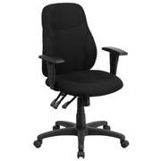 Flash Furniture BT90297MA Mid-Back Black Fabric Multi-Functional Ergonomic Swivel Task Chair with Height Adjustable Arms