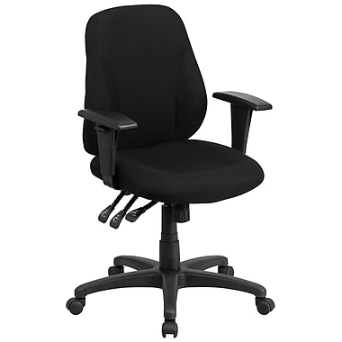 Flash Furniture Multifunctional Fabric Computer and Desk Office Chair, Adjustable Arms, Black (BT90297SA)