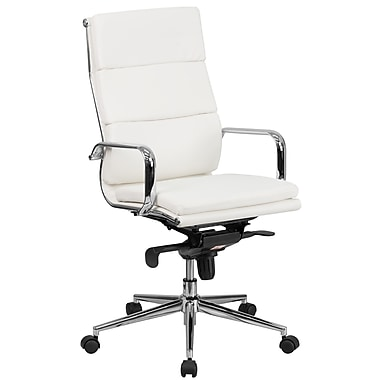 Flash Furniture High-Back Leather Executive Swivel Office Chair with Synchro-Tilt Mechanism, White (BT9895H6WH)