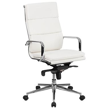 Flash Furniture – Fauteuil direction pivotant en cuir blanc à dossier haut, siège et dossier synchronisés (BT9895H6WH)