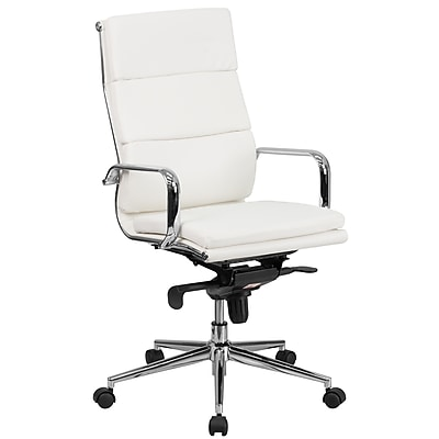 Flash Furniture Leather Executive Office Chair, Fixed Arms, White (BT9895H6WH)