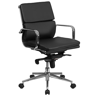 Flash Furniture Mid-Back Leather Executive Swivel Office Chair with Synchro-Tilt Mechanism, Black (BT9895MBK)