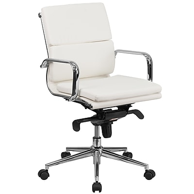 Flash Furniture Leather Executive Office Chair, Adjustable Arms, White (BT9895MWH)