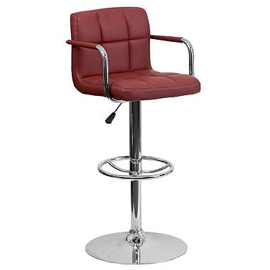 Flash Furniture – Tabouret de bar ajustable en vinyle matelassé bourgogne, accoudoirs et pied chromés (CH102029BURG)