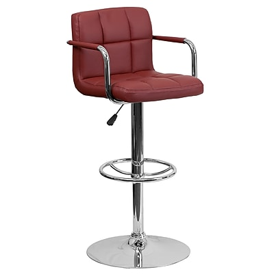 Flash Furniture Adjustable-Height Contemporary Barstool, Burgundy Quilted Vinyl, Arms and Chrome Base (CH102029BURG)