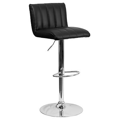 Flash Furniture Adjustable-Height Contemporary Vinyl Barstool, Black with Chrome Base (CH112010BK)