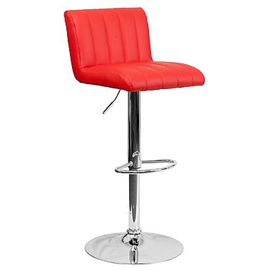 Flash Furniture Contemporary Red Vinyl Adjustable Height Barstool with Chrome Base (CH112010RED)