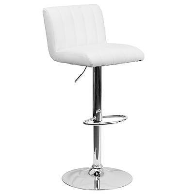 Flash Furniture Adjustable-Height Contemporary Vinyl Barstool, White with Chrome Base (CH112010WH)