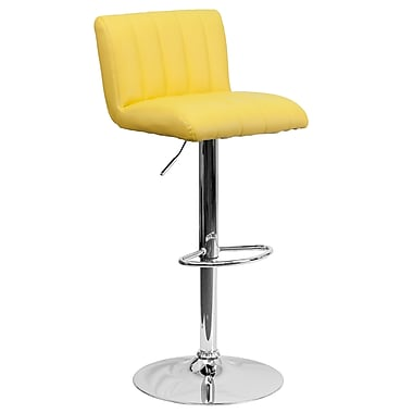 Flash Furniture Adjustable-Height Contemporary Vinyl Barstool, Yellow with Chrome Base (CH112010YEL)