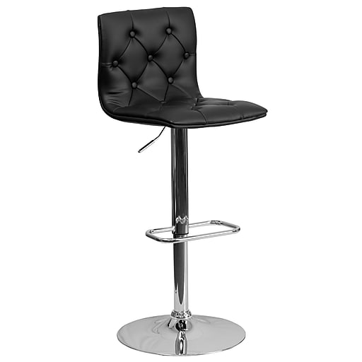 Flash Furniture Contemporary Tufted Vinyl Adjustable Height Barstool, Black with Chrome Base (CH112080BK)