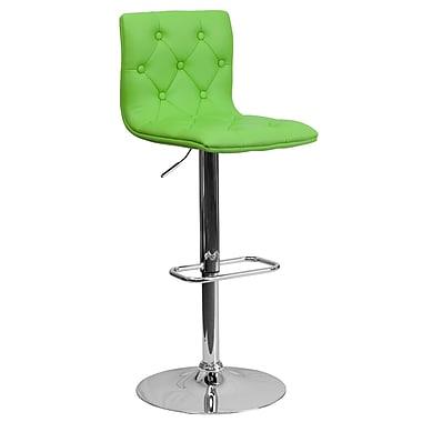 Flash Furniture – Tabouret de bar ajustable de 32,35 po en vinyle matelassé vert et à pied chromé, 4/bte (CH112080GRN)